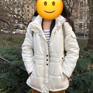 White winter puffer jacket